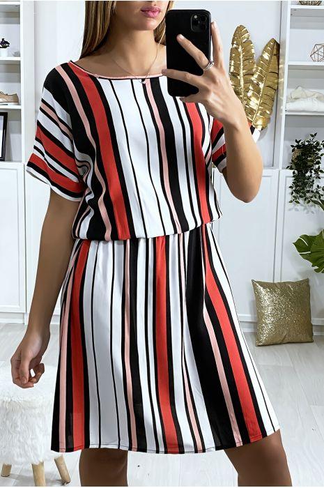 Robe tunique rayé motif rose rouge blanc et noir avec élastique à la taille