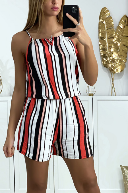 Pink white black striped cotton playsuit with lace on the shoulder strap