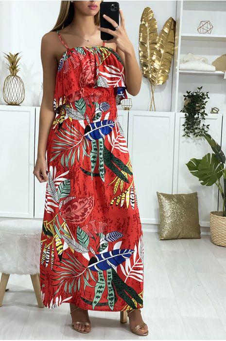 Longue robe rouge motif feuille avec volant et élastique à la taille
