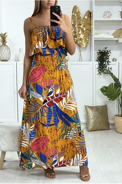 Longue robe moutarde motif feuille avec volant et élastique à la taille