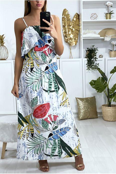 Lange jurk in wit bladmotief met ruches en elastische taille