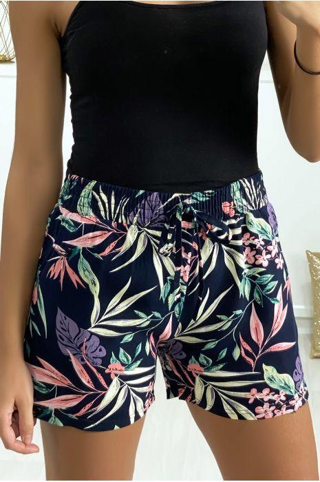 Short noir en coton motif fleuris avec poches
