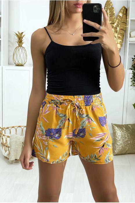 Short moutarde en coton motif fleuris avec poches