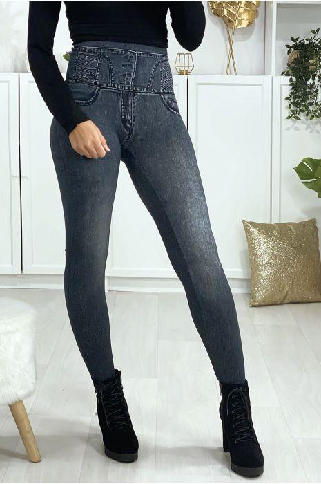 Leggings minceur taille haute effet jeans
