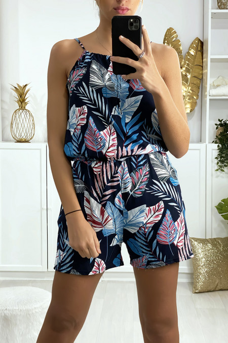 Navy leaf pattern cotton playsuit with lace on the shoulder strap