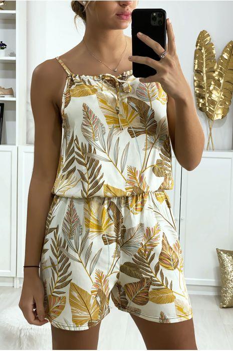 Combi-short beige motif feuille en coton avec lacet au bretelle