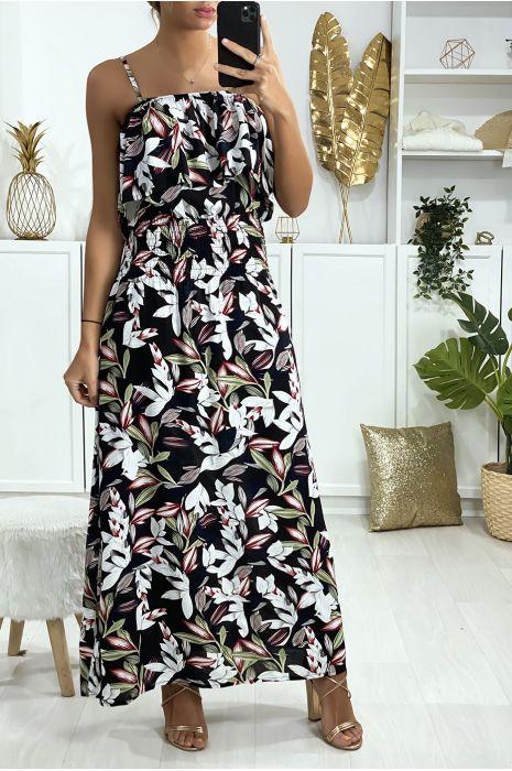 Lange zwarte jurk met bloemenpatroon met volant en elastiek in de taille