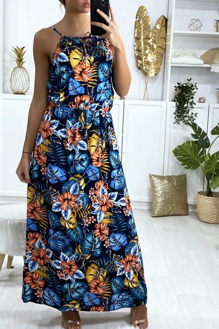 Lange jurk in navy bladpatroon met schouderband en elastische tailleband