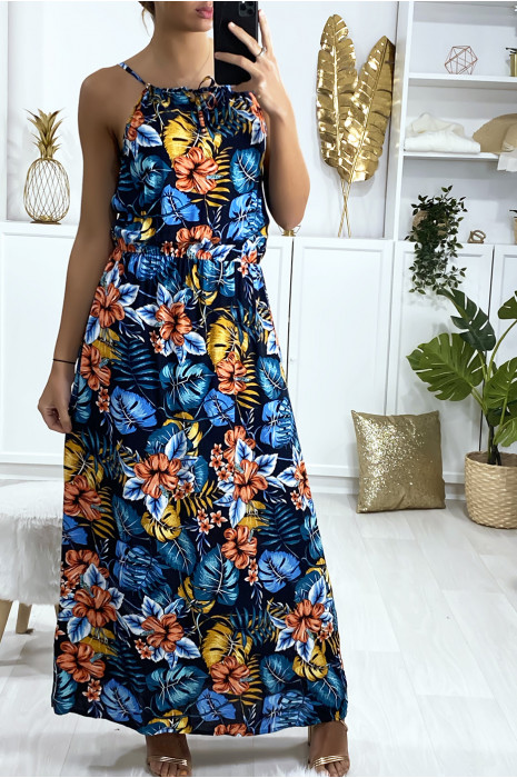 Longue robe marine motif feuille avec bretelle et élastique à la taille