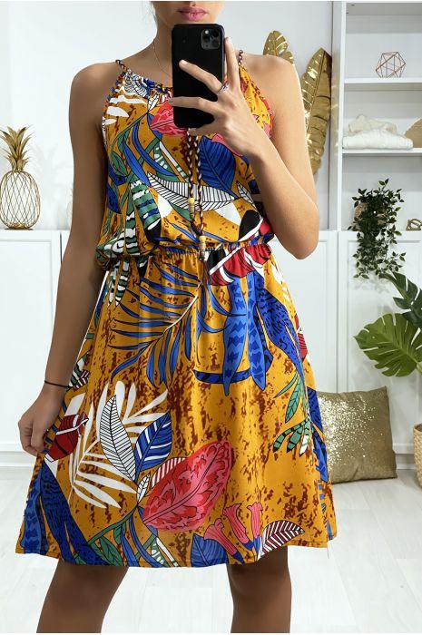 Robe tunique moutarde motif feuille avec élastique à la taille