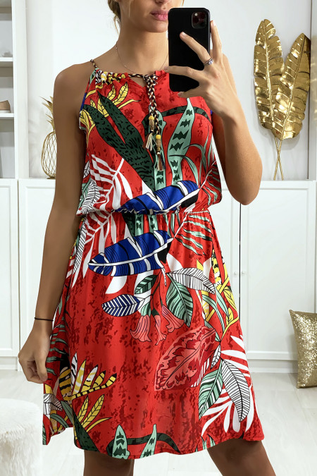 Red leaf pattern tunic dress with elastic waist
