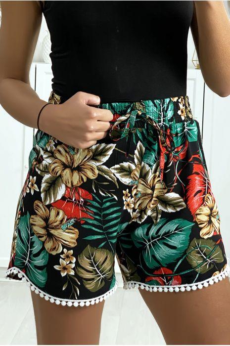 Short motif feuille noir vert en coton motif feuille avec poches