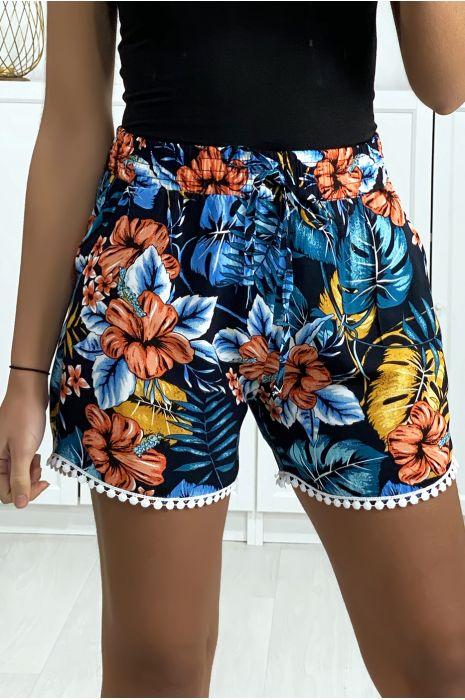 Short motif feuille marine en coton motif feuille avec poches