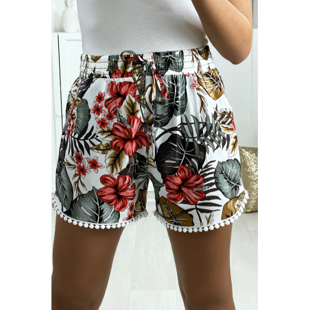 Short motif feuille blanc en coton motif feuille avec poches