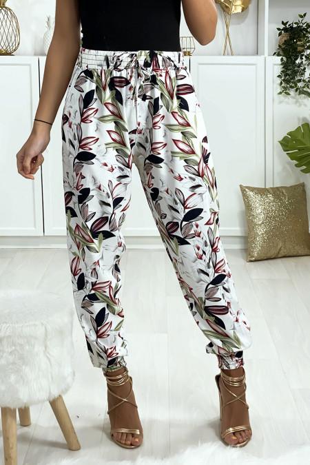 Pantalon blanc motif fleuris elastique aux chevilles avec poches