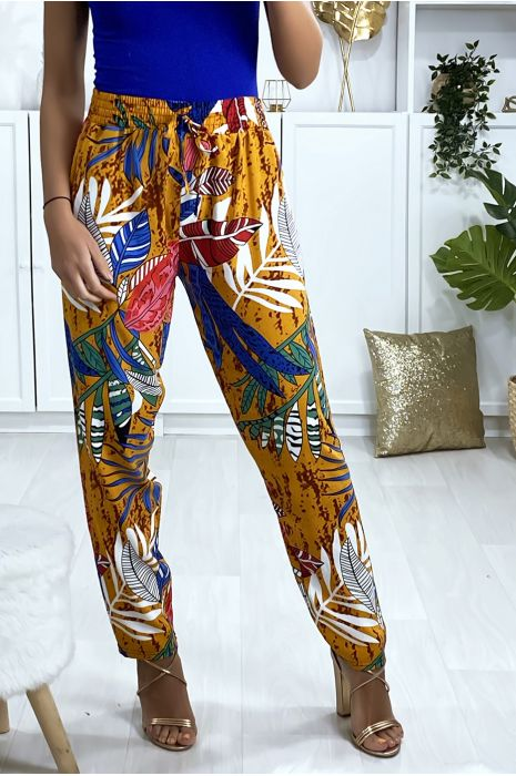 Pantalon moutarde en coton motif feuille avec poches