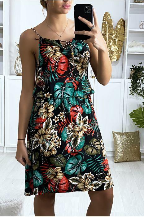 Zwarte jurk met bladmotief en elastische tailleband