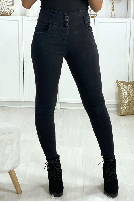 Pantalon jegging noir avec 3 boutons et poches