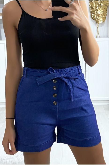 Short en jeans marine avec boutons poches et ceinture