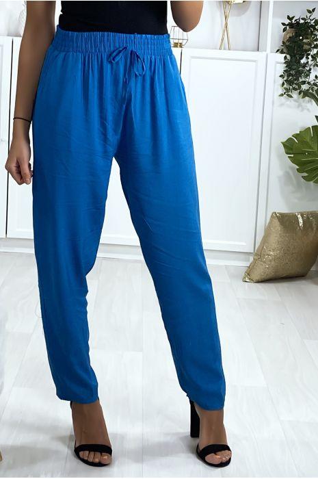 Blauwe katoenen broek met zakken