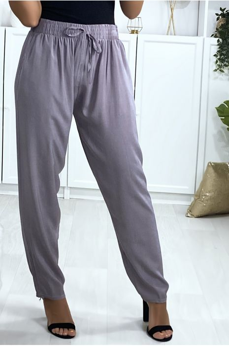 Pantalon gris en coton avec poches