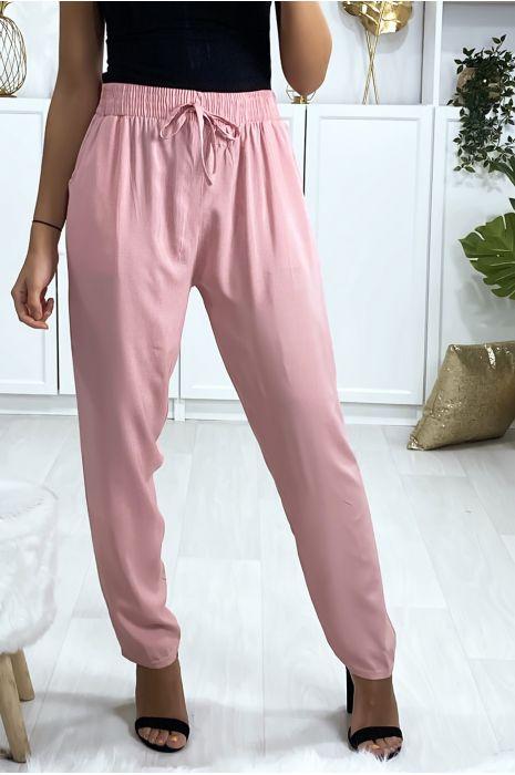 Roze katoenen broek met zakken