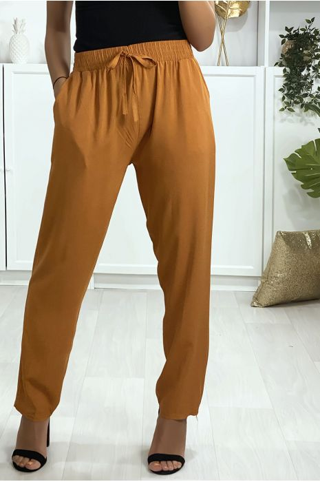 Camelkleurige katoenen broek met zakken