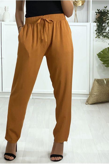 Pantalon camel en coton avec poches