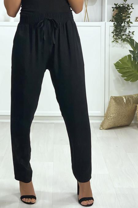Pantalon noir en coton avec poches