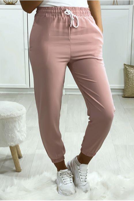 Pantalon jogging rose avec poche serré en bas