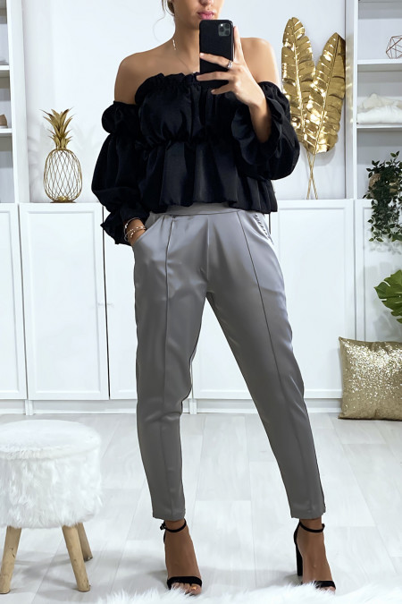 Satin cigarette pants in gray with pockets and front pleats