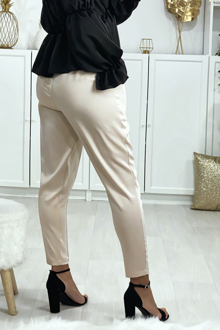 Satin cigarette pants in beige with pockets and front pleats