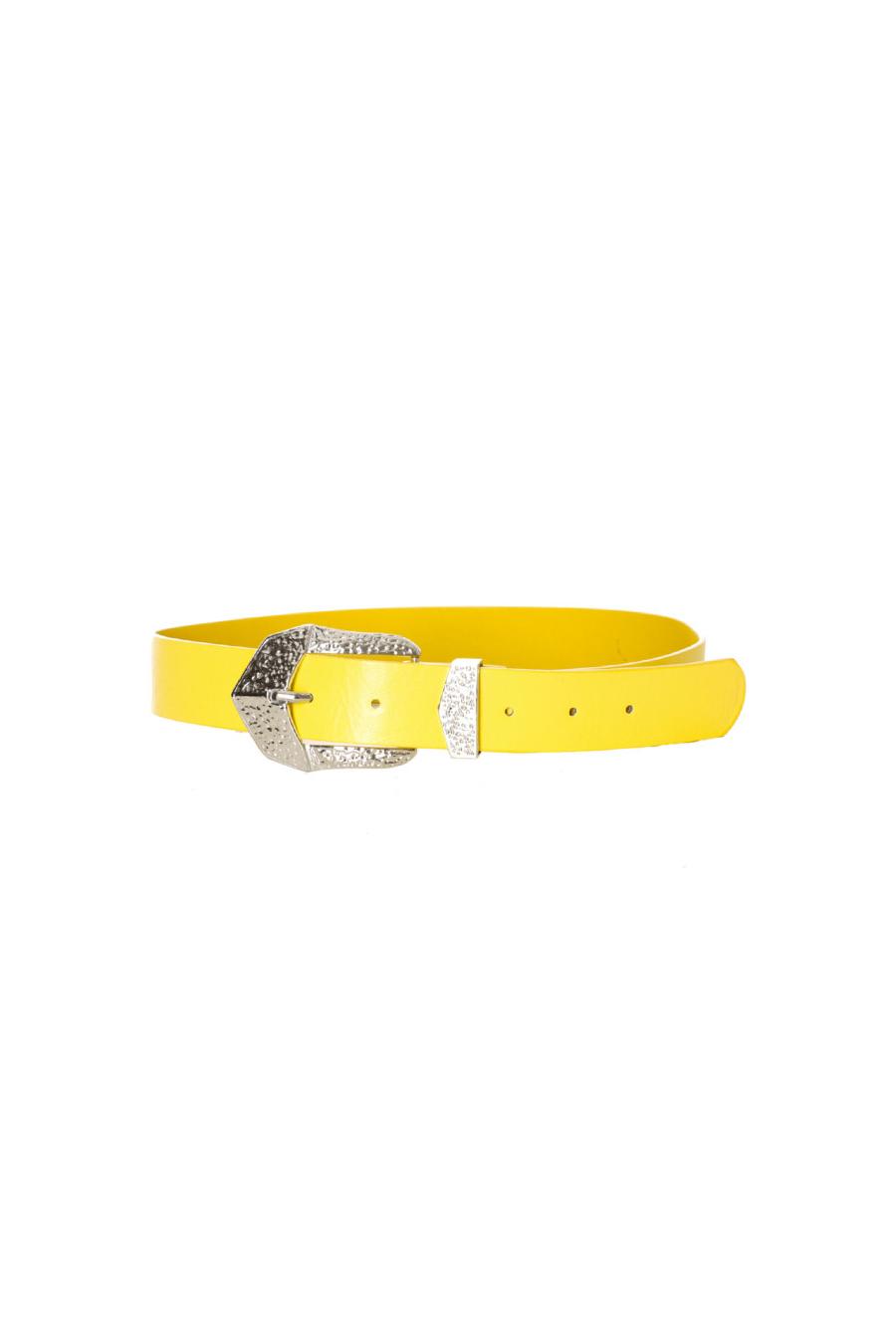 Gele riem met zilveren gesp. D7364