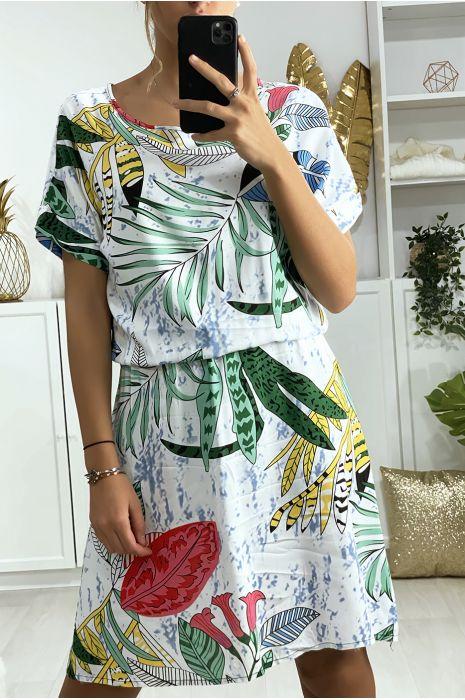 Robe tunique blanche motif feuille avec élastique à la taille