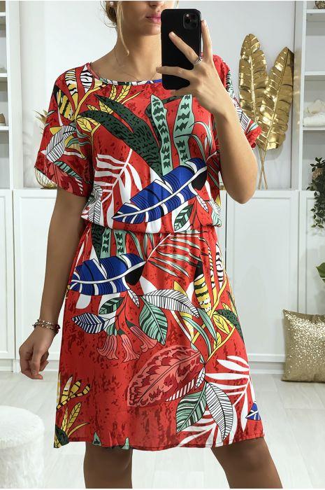 Robe tunique rouge motif feuille avec élastique à la taille