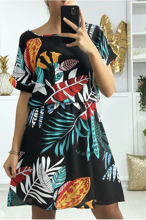 Robe tunique noir motif feuille avec élastique à la taille