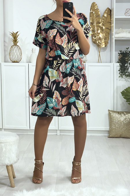 Beautiful black leaf pattern tunic dress with elastic at the waist