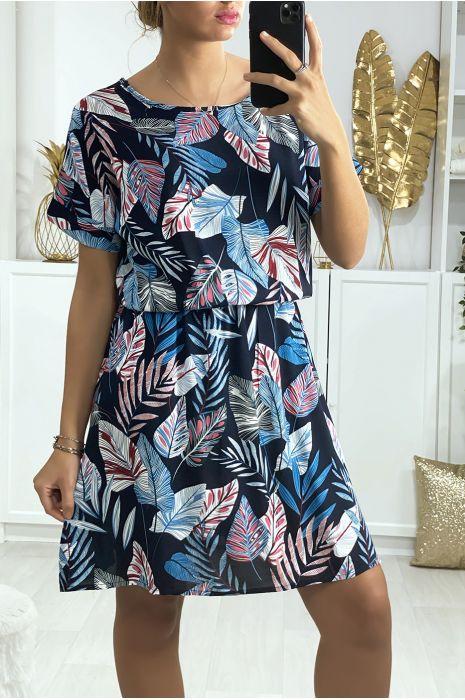 Belle robe tunique marine motif feuille avec élastique à la taille
