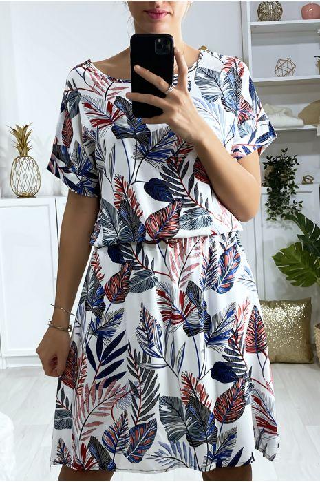 Belle robe tunique blanche motif feuille avec élastique à la taille