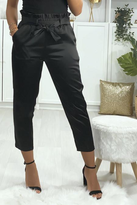Black satin cigarette pants with belt and pockets