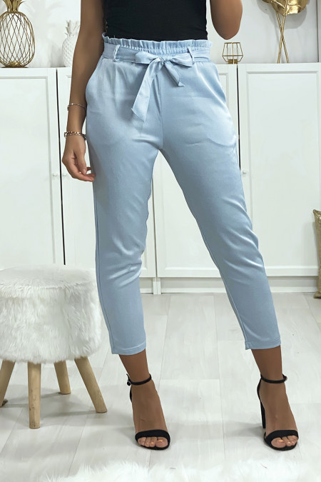 Satin turquoise blue cigarette pants with belt and pockets