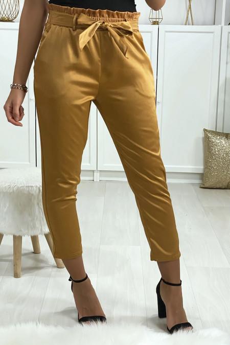 Satin camel cigarette pants with belt and pockets