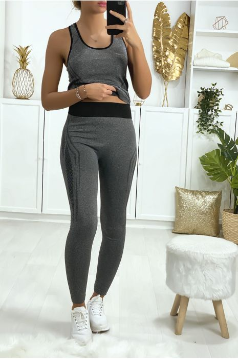 Ensemble legging et débardeur fitness gris et noir