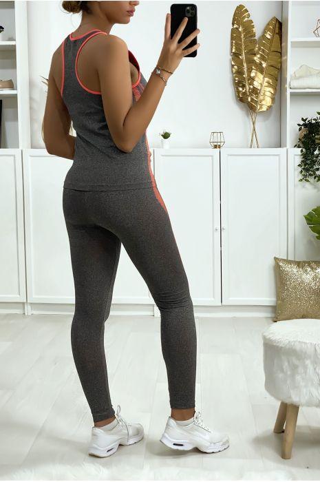 Grijze en koraalkleurige legging en fitness tanktop set