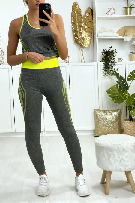 Grijze en gele legging en fitness tanktop set