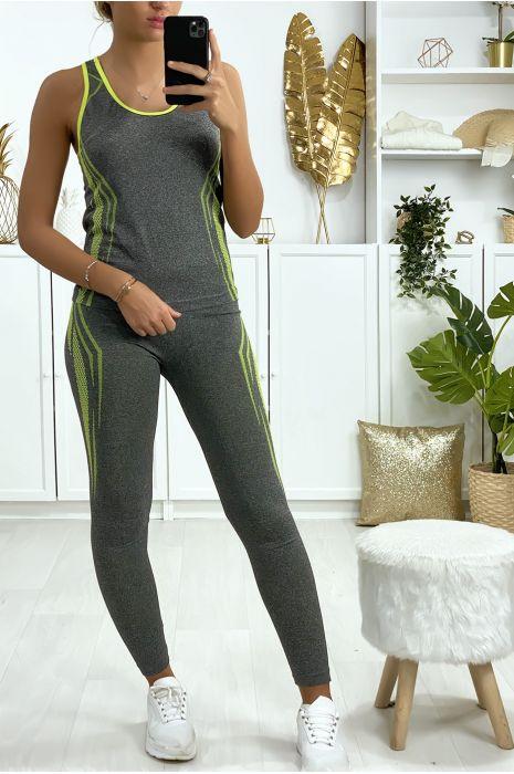 Ensemble legging et débardeur fitness gris et jaune