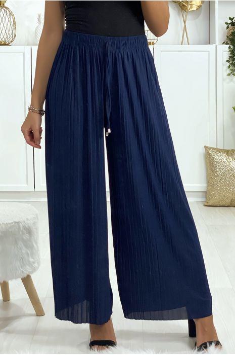 Pantalon palazzo plissé en marine. Mode femme