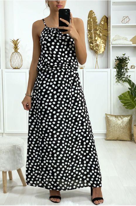 Lange zwarte jurk met stippenpatroon met jarretel en elastiek in de taille