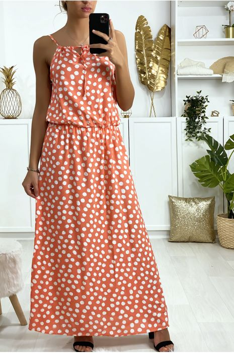 Longue robe rose motif pois avec bretelle et élastique à la taille