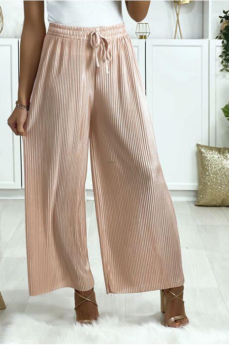 Pantalon palazzo plissé en rose
